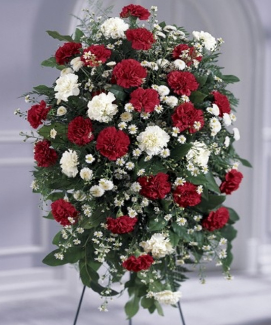 funeral standing spray red and white flowers, las vegas