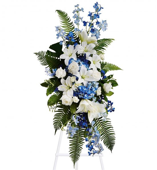 white and blue funeral flowers, las vegas