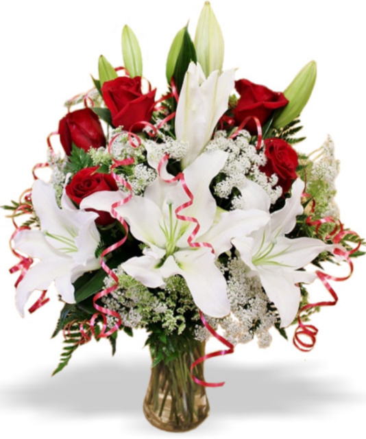 white lilies and red roses, flowers las vegas, valentines day flwoers, valentine's day roses