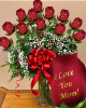 12 Personalized Red Roses ,, I Love You Mom''